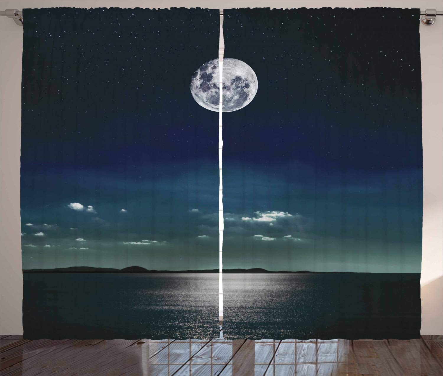 Ambesonne Curtains Reflected Moonlight Surface