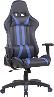 CLP Silla Gamer Kano En Simil Cuero & Base con Ruedas I Silla Racing Altura Ajustable & con Respaldo Reclinable I, Color:Negro/Azul