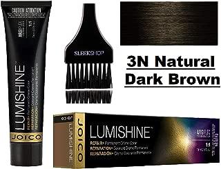 Joico LUMISHINE Repair+ PERMANENT Creme Hair Color (with Sleek Applicator Brush) Cream Haircolor (3N Natural Dark Brown)