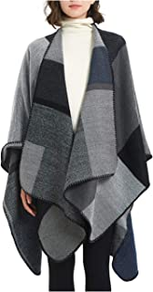 Women's Winter Reversible Oversized Blanket Poncho Cape Shawl Cardigans