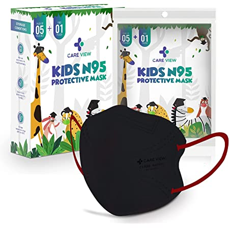 Careview Kids N95 Face Mask (Pack of 5 + 1 Free), BLACK Color,5 Layered Filtration, DRDO, BIS (ISI),CE Certified, Ear Loop Style (KIDS-N95-MASK)