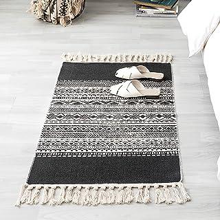 INKARO Tapis en coton tissé avec pompon pour cuisine, salon, chambre, buanderie, entrée (60 x 90 cm, bord noir)