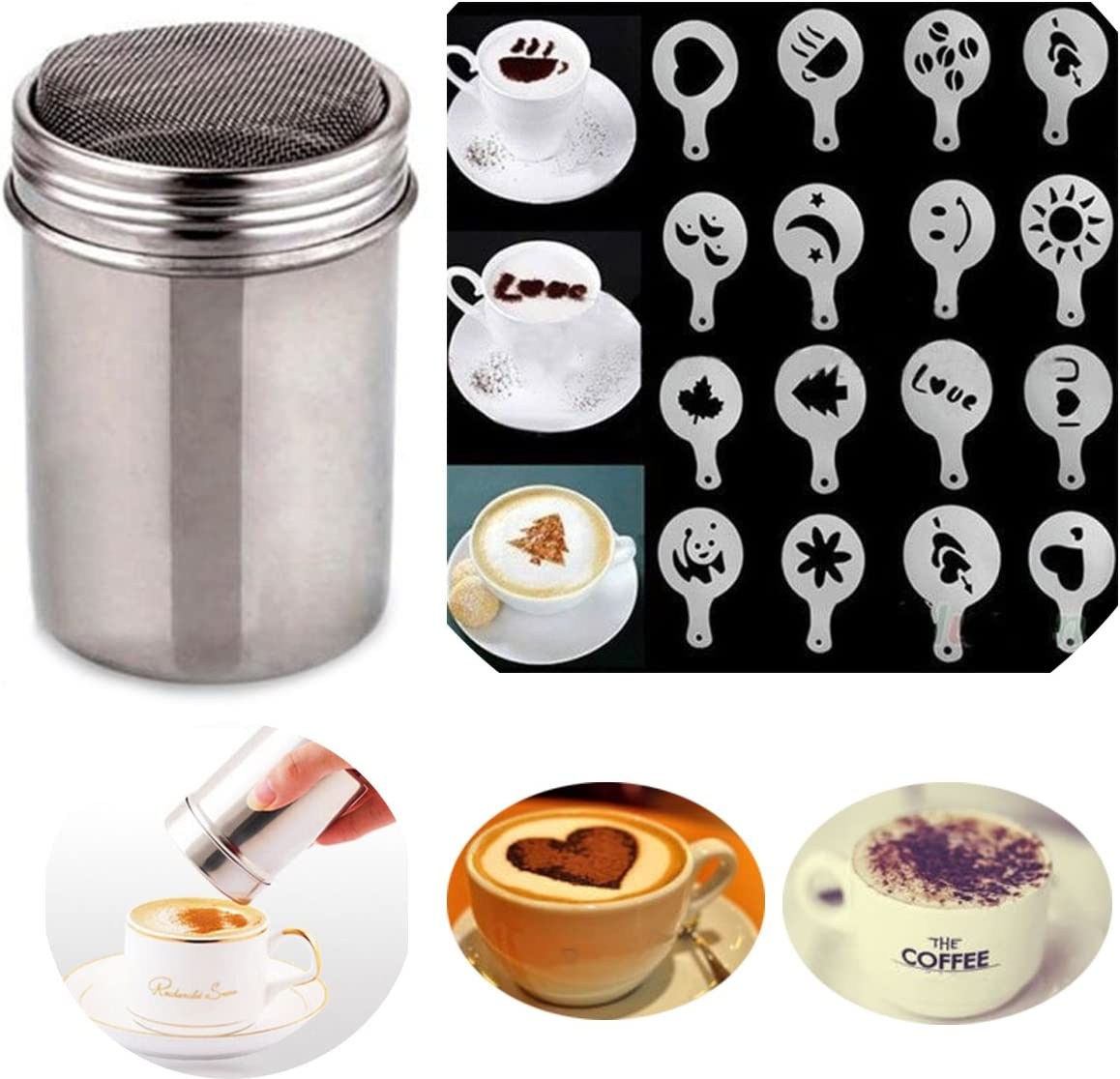 Tovip 2Pcs Sugar Shaker Stainless Chocolate Shaker Cocoa Flour Icing Sugar Powder Coffee Sifter Lid Shaker+16Pcs Coffee Stencils Template Duster Spray