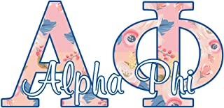 Alpha Phi sorority decal - 5 inch wide sticker - Floral letters in pink