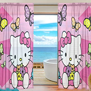 ARTSHEER Hello Kitty Pink Sweet Sheer Curtains Art Deco Voile Drapes French Window for Living Room Bedroom Window Symmetrical Pattern Sheer Curtain (2 Panels Each 78x55 inch)