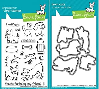Lawn Fawn Critters At The Dog Park Clear Stamp and Die Set - Includes One Each of LF515 (Stamp) & LF520 (Die) - Custom Set