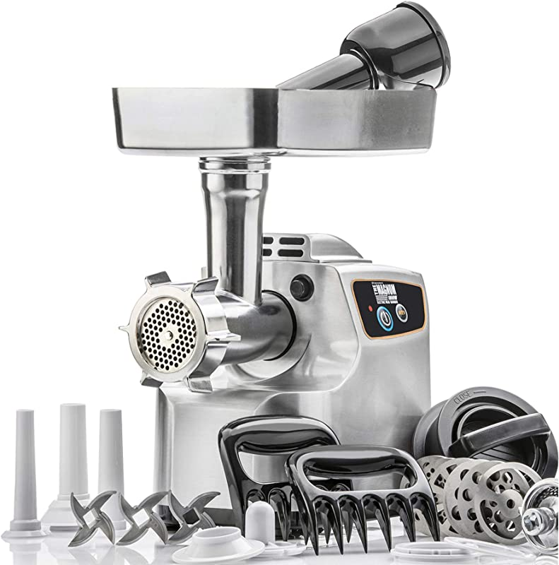 STX International Gen 2 Platinum Edition Magnum 1800W Heavy Duty Electric Meat Grinder High Capacity Meat Tray 6 Grinding Plates 3 S S Blades 3 Sausage Tubes 1 Kubbe Maker And Much More