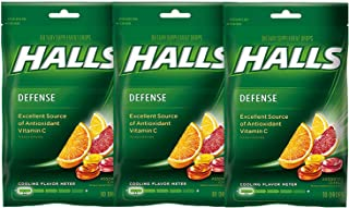 Halls Defense Vitamin C Drops Assorted Citrus - 30 ct, Pack of 3
