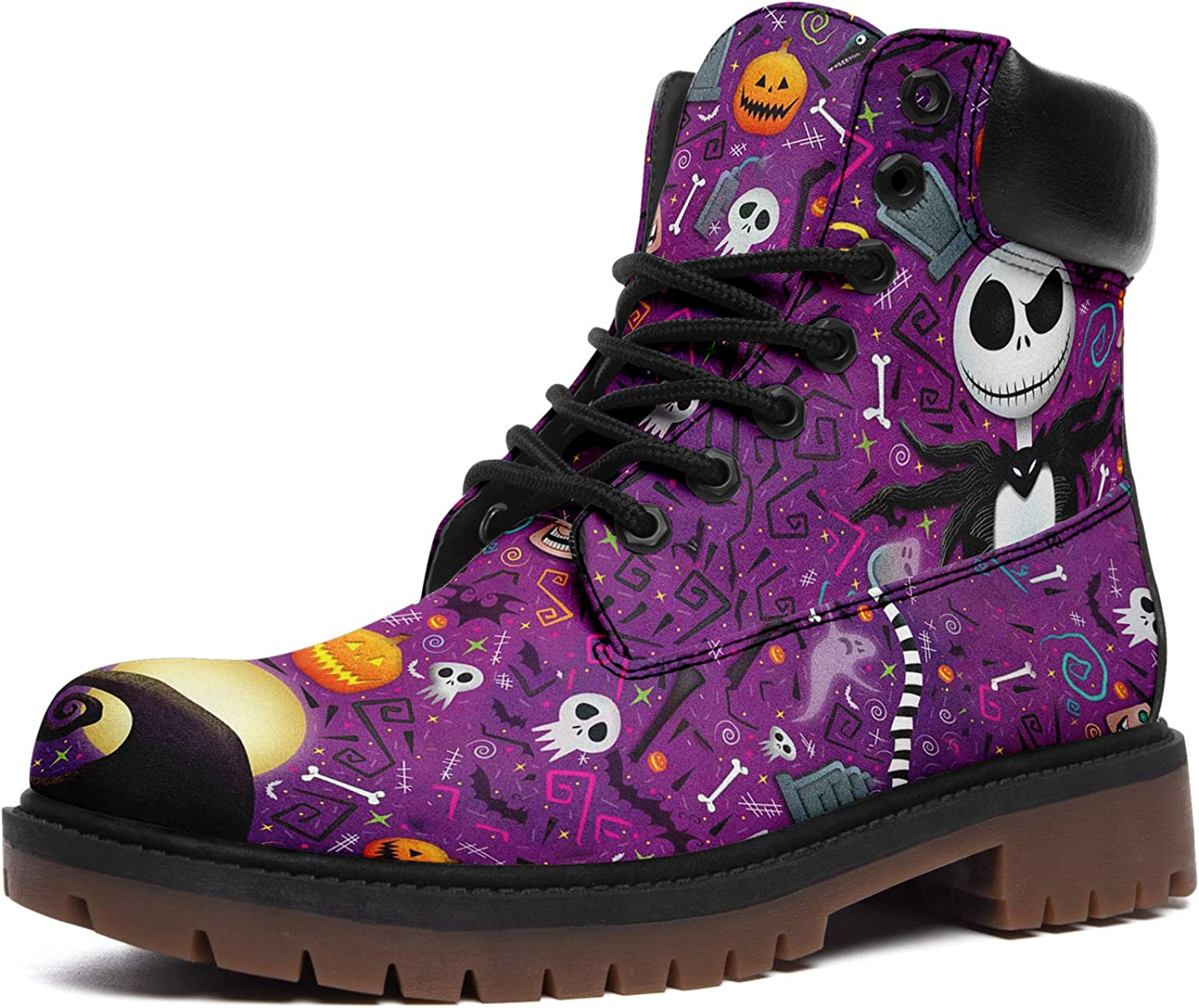 Nightmare Before Christmas Boots for Men Women Custom Lace-up Anti-Slip Leather Jack Skellington Hiking Boots Gifts for Christmas
