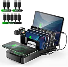 Wireless Charging Station for Multiple Devices, Vogek 8 in 1 5 USB Port Charger Docking Station with Qi Wireless Charging ...