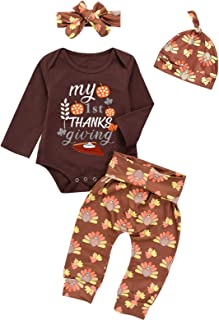 Minseng Direct 4PCS Baby Boy My 1st Thanksgiving Costumes Outfits Baby Print Turkey Pant Set