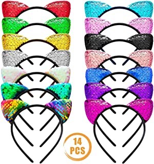 Quacoww 14 Pieces 2 Style Cat Ear Headband Shiny Cute Sequin Headband Girls Women Hair Accessories for Daily Life Party Cosplay 14 Colors