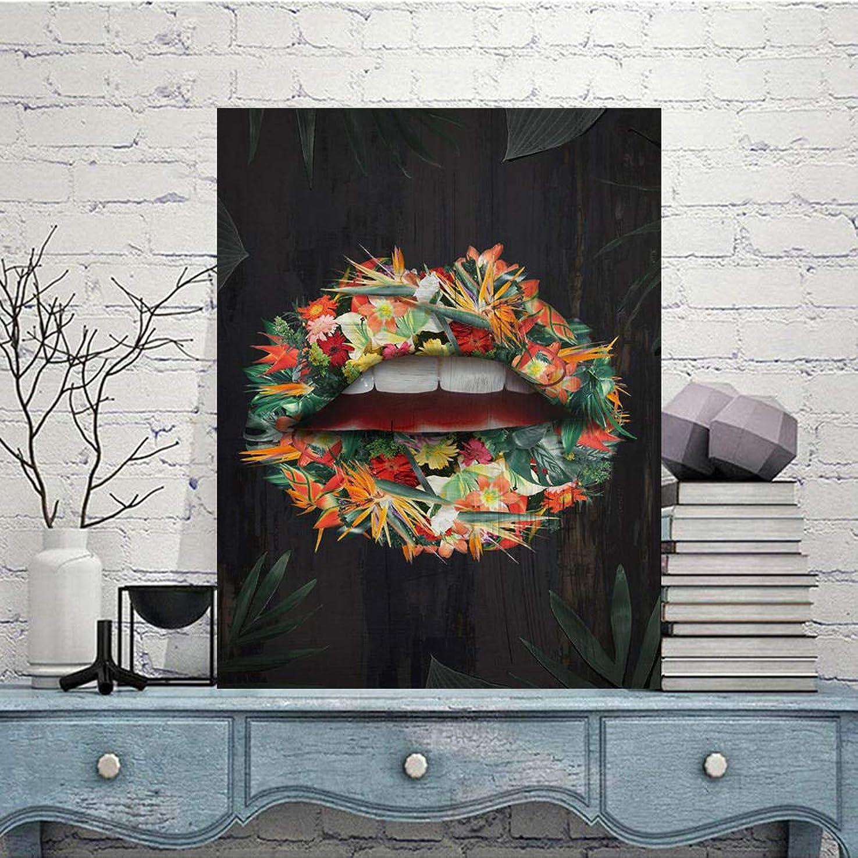 櫛くびれた模索装飾ポスター現代の壁アートキャンバスプリント美容唇花油絵壁写真用リビングルーム-50×70センチ×1個フレームなし