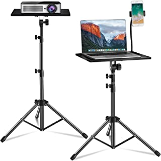 Laptop Tripod, Laptop Floor Stand Adjustable Height 17.7 to 47.2 Inch with Gooseneck Phone Holder, Portable Projector Stan...