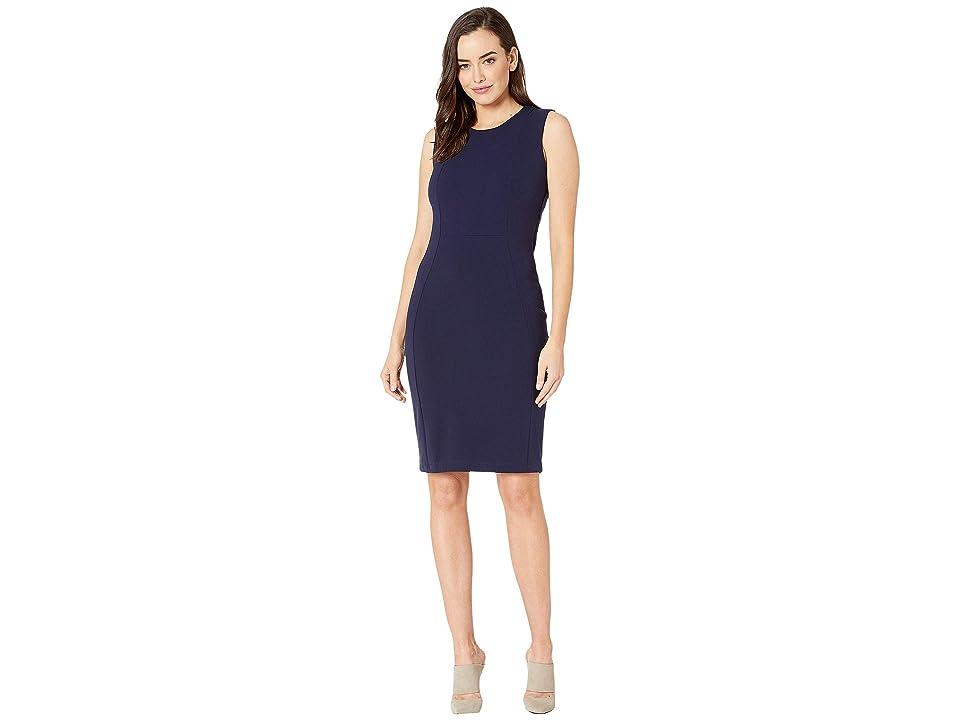 MARINA Short Stretch Crepe Dress w/ Exposed Zip Back (Navy) Women