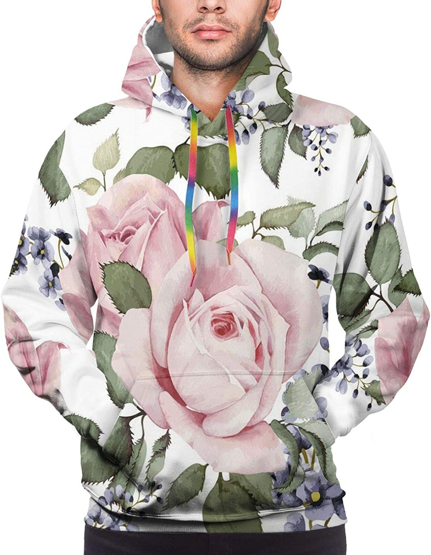 Men's Hoodies Sweatshirts,Flourishing Pink Roses with Tender Spring Summer Soulful Blossoms Bridal