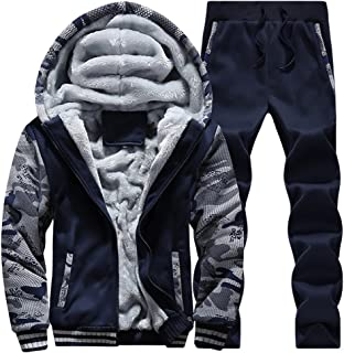 Men's Tracksuit Winter Soft Hooded Fleece Sweatsuits Warm Pullover Coats 2 Pieces Outfits Set