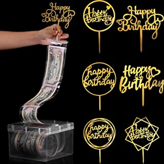 Boao 107 Pieces Cake Money Box Kit, Pulling Money Box Cake Topper Money Box Kit with 6 Pieces Happy Birthday Cake Topper a...