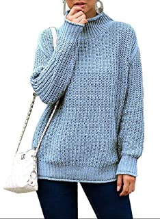 NICIAS Women's Knit Solid Sweater Casual Loose Fitting Shirts Long Sleeve Pullover Tops