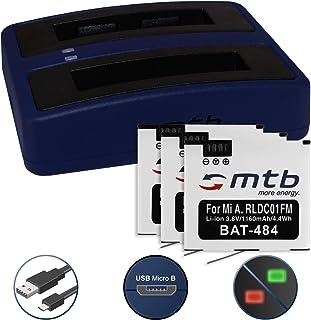 3 Baterías + Cargador Doble (USB) para Xiaomi mijia Mini 4K Action CAM | reemplaza Xiaomi RLDC01FM [1160 mAh | 3.8V | Li-Ion] - Cable USB Micro Incluido