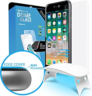 Dome Glass iPhone 8 Screen Protector Tempered Glass Shield, [Liquid Dispersion Tech] 2.5D Curved Full Coverage, Easy Install Kit and UV Light by Whitestone for Apple iPhone 8 (2017) / iPhone 7 (2016)