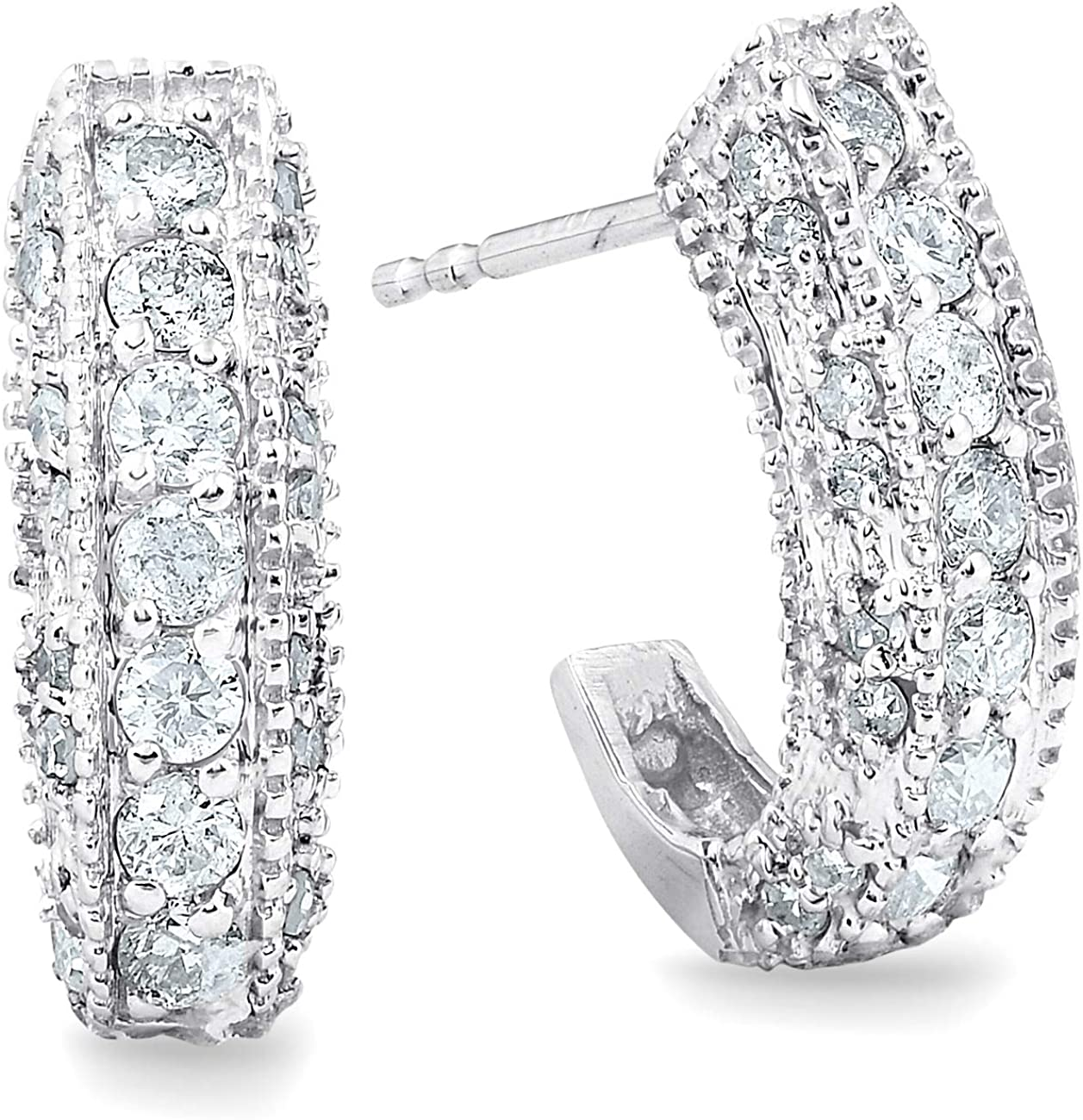 1 Max 40% OFF 2ct Vintage Pave Huggie Hoops Earrings 14K Gold Courier shipping free shipping White
