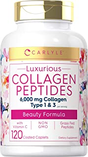Collagen Peptides 6000 mg | 120 Caplets | Type 1 and 3 with Vitamin C | Grass Fed, Non-GMO, Gluten Free Pill Supplement | ...