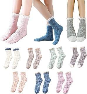 JUYAN, 7 pares de calcetines cálidos de lana de cordero, calcetines de lana de coral mullidos gruesos y cálidos de invierno para mujer