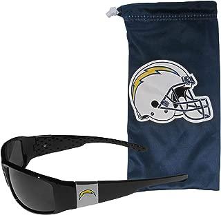 Siskiyou NFL Unisex Chrome Wrap Sunglasses and Bag
