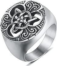 enhong Mens Celtic Knot Signet Rings Round Vintage Stainless Steel Ring for Biker Size 7 8 9 10 11 12 13 14 15