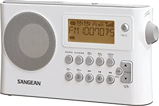 Sangean PRD14W PR-D14 - Radio Portable FM/Am con Reloj y Alarma, Blanco