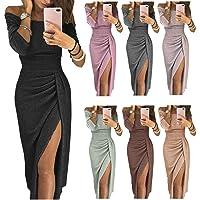 RIBITENS Women Off The Shoulder 3/4 Sleeve Hem Split Bodycon Party Dress