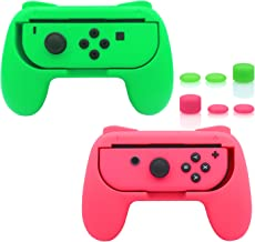 FastSnail Grips for Nintendo Switch Joy-Con, Wear-Resistant Handle Kit for Switch Joy Cons Controller, 2 Pack(Green and Pink)