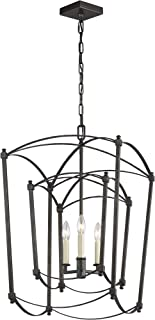 Feiss F3327/3SMS Transitional Three Light Lantern from Thayer Collection in Pwt, Nckl, B/S, Slvr. Finish, 17.00 inches, 3 (Dual), Smith Steel