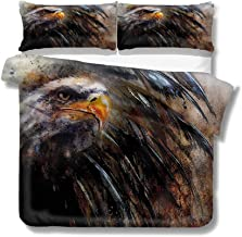 Mademai King Size Duvet Cover Set Eagle,Angry Bird Black Feathers Decorative 3 Piece Bedding Set with 2 Pillow Shams