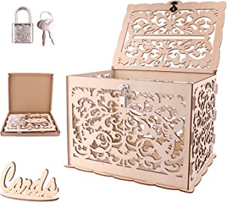 SunBeter Wooden Wedding Card Box with Lock and Card Sign, Greeting Card Keeper for Wedding, Baby Shower, Anniversary, Birthday, Party, 11.8 x 9.45 x 8.27 inch