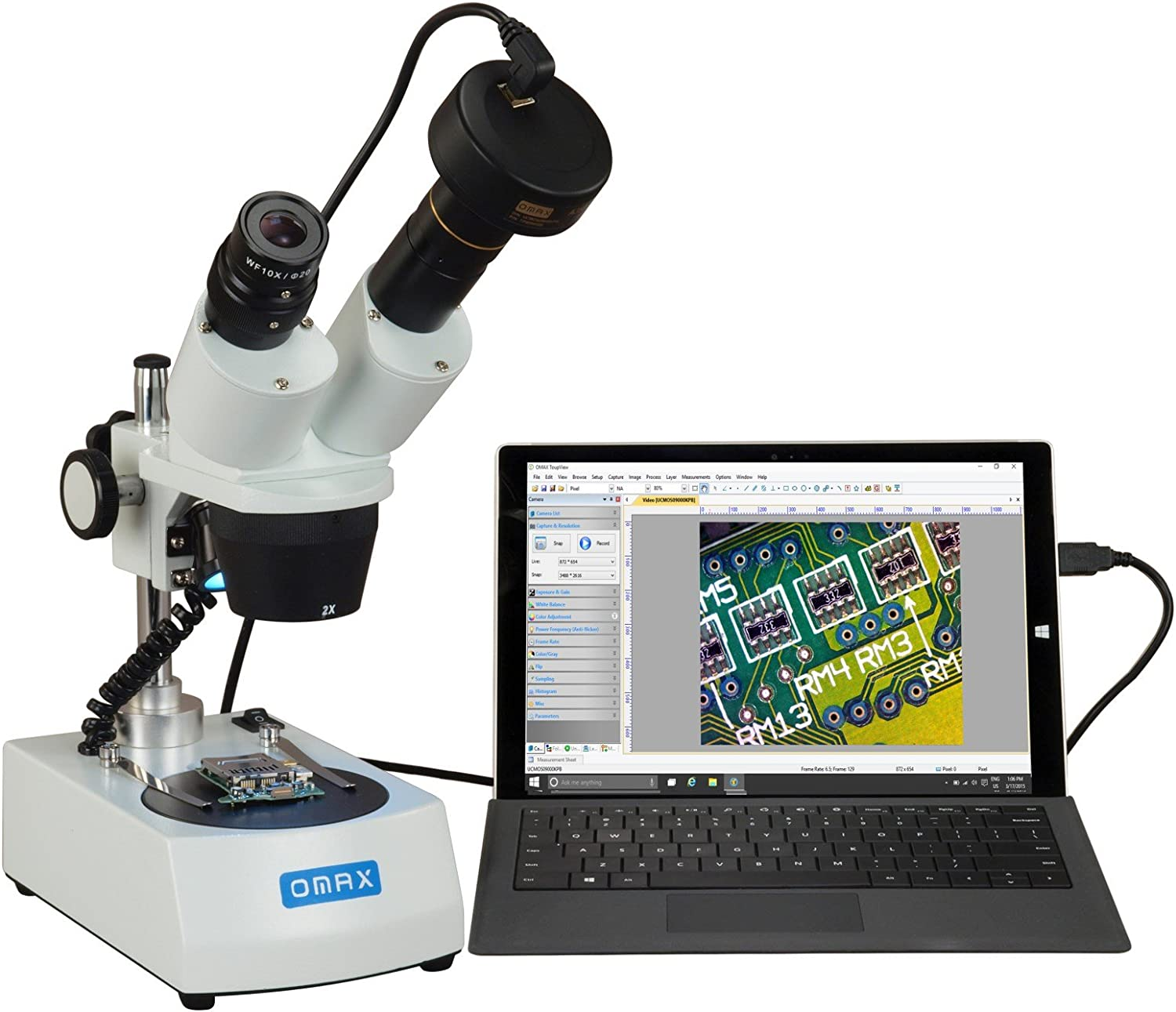 OMAX 20X40X Cordless Stereo Binocular Microscope with Dual LED Lights and 1.3MP Camera