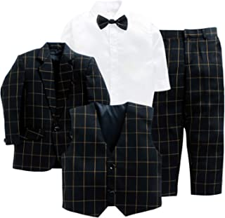Jeet Creation Boys Black Coat Suit with Waistcoat, Shirt, Bow and Trouser Set (9058ERH)