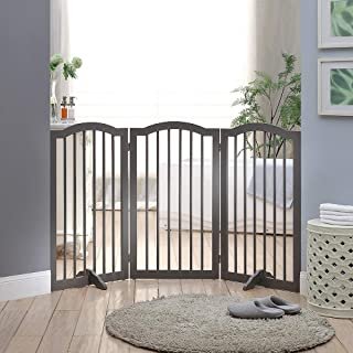 unipaws Freestanding Dog Gate with 2pcs Support Feet, Foldable Pet Gate for Stairs, Decorative Indoor Pet Barrier with Arc...