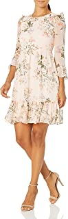Calvin Klein Women's Petite Illusion Bell Sleeve Dress with Ruffle Detail