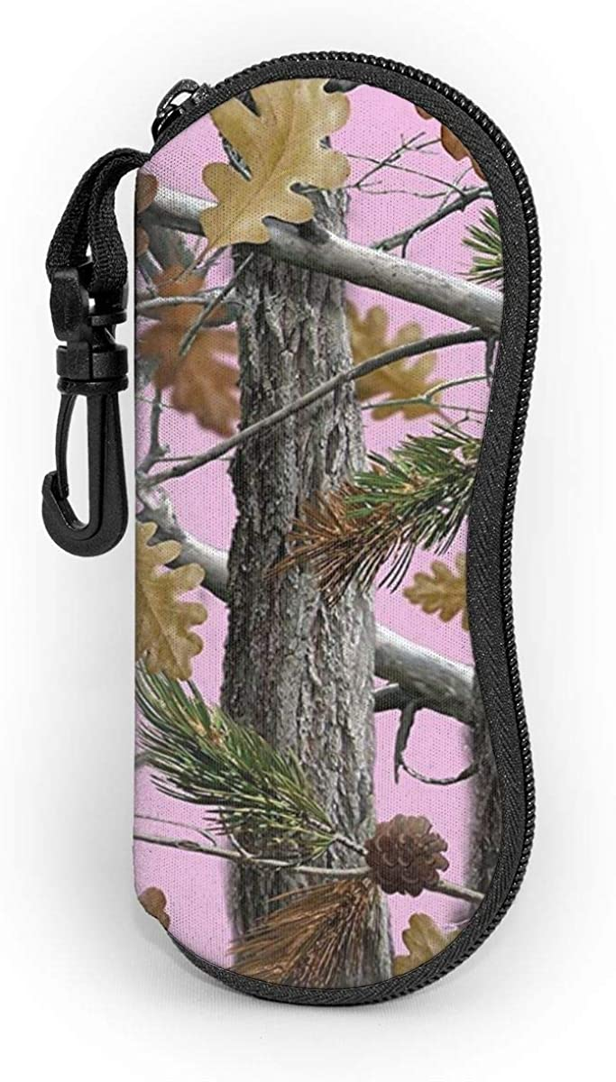 ACO-T Ultra Light Sunglasses Pouch,Eyeglasses Case With Carabiner Hook,Portable Glasses Bag,Spectacle Case,Camo Trees Pink Neoprene Zipper Sunglasses Case