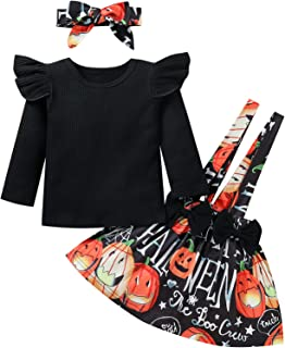 Toddler Baby Girl Halloween Outfits 3PCS Sets Long Ruffle Sleeve Solid Colour Top Shirt+Suspender Ruffle Tutu Plaids or Pu...