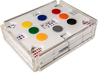 El Tren Mexican Train Dominoes Set, Double 12 Train Domino Game Set with Color Tiles in Acrylic Box with White Acrylic Hub and Color Markers