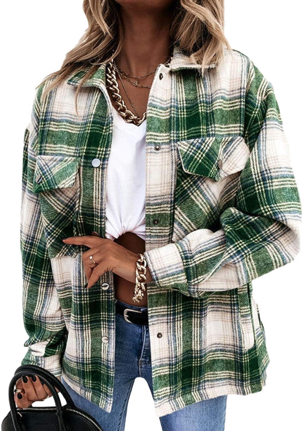 AMEBELLE Women Casual Vintage Plaid Shackets Brushed Long Sleeve Cotton Shirt Jacket