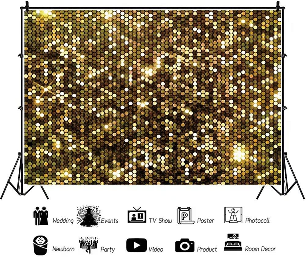 DaShan 14x10ft Gold Spots Sparkle Backdrop Tea Party Newborn Wall Decor Baby Shower Birthday Graduation Prom Dance Party Photography Background Bridal Shower Wedding Table Banner Photo Props