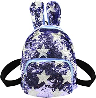Orityle Star Pattern Magic Reversible Sequins Backpack Shoulder Book Bag Satchel for Girl with Rabbit Ear Blue Blue one Size