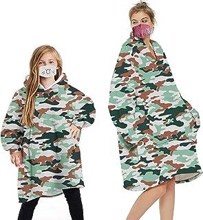 Geagodelia, Manta con capucha de gran tamaño y forro polar esponjosa para hombres, mujeres y niños, manta con capucha con gran bolsillo frontal a juego para familia
