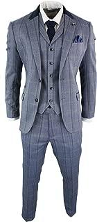 Cavani Mens Check Tweed 3 Piece Blue Navy Suit Vintage Retro Tailored Fit Prince Of Wales
