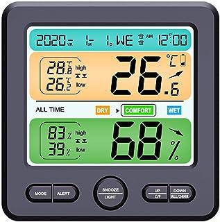 qingyin Digital termometer hygrometer, exakt rumstemperaturmätare fuktighetsmätare med väckarklocka, lätt att läsa av, öve...