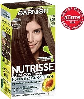 Garnier Nutrisse Ultra Coverage Hair Color, Deep Medium Natural Brown (Glazed Walnut) 500 (Packaging May Vary), Pack of 1